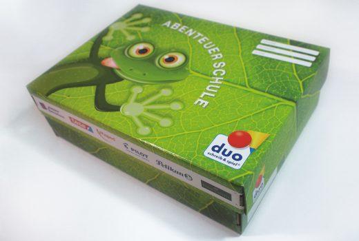 Verpackungsdesign der Überraschungsbox duo schreib & spiel
