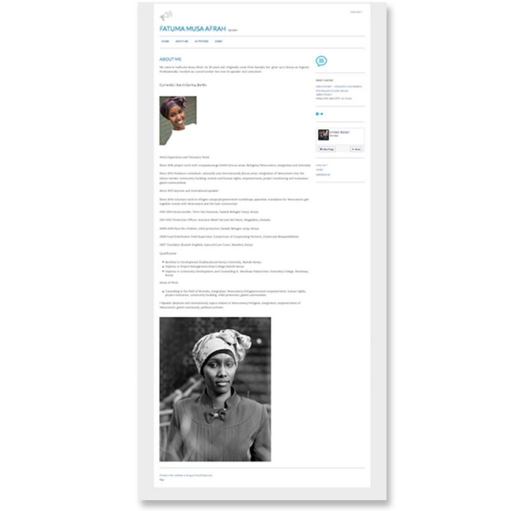 Homepage von Fatuma Musa Afrah