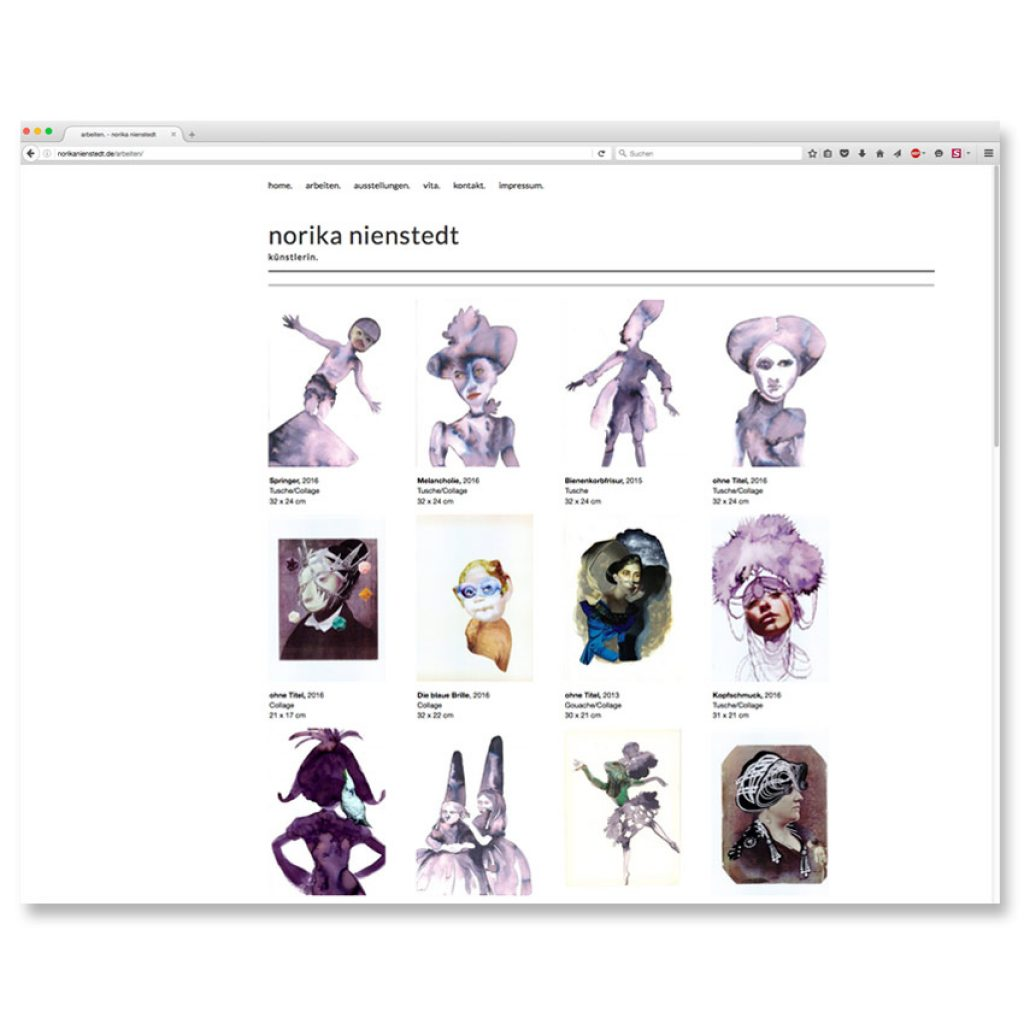 Webseite der Künstlerin Norika Nienstedt